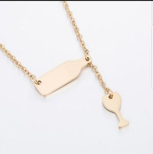 Gold Wine and Glass Necklace